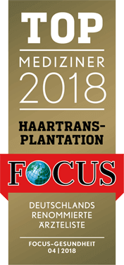 Top Mediziner Siegel für Haartransplantation Focus 2018 - Hairdoc Düsseldorf